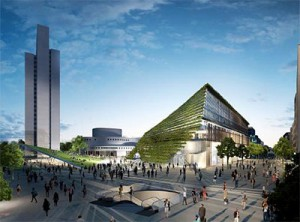 Visualisierung des geplanten Kö Bogen II mit dem markanten Ingenhoven-Tal, Foto: Ingenhoven