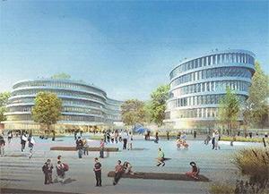 Entwurf für das neue Gebäude im Medienhafen, Abbildung: SOP